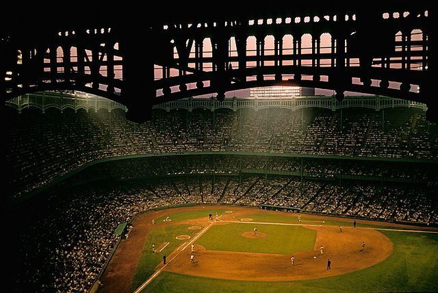 Night baseball game, Yankee Stadium, Bronx, New York, by Marvin E. Newman 1955