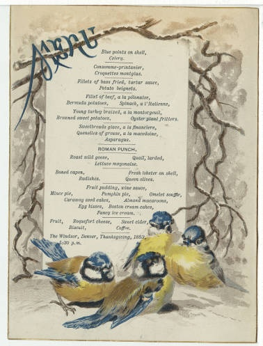 "Vintage menu from 1883 at the Windsor in Denver, CO, where many characters from the ""Secrets on Sterling Street"" series have dined."