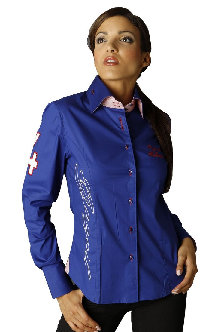 osez les couleurs du drapeau am ricain gr ce la chemise femme manches longues bleu roi l. Black Bedroom Furniture Sets. Home Design Ideas