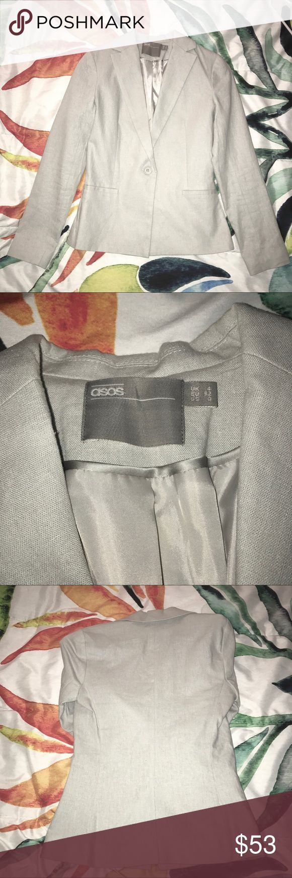 ASOS light gray textured blazer This light gray textured blazer from ASOS is perfect over a dress or with jeans. Long sleeves that also look great cuffed. Worn just a few times and in perfect condition. ASOS Jackets & Coats Blazers