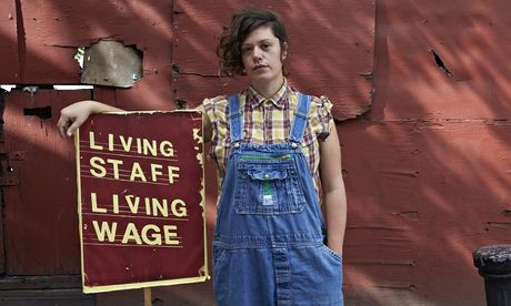 Nia Hughes, who is fighting for a living wage at the Brixton Ritzy cinema in London. Photograph: Andy Hall for the Observer