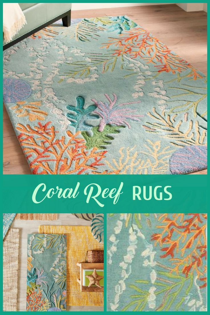 C Reef Area Rugs Teal Blue With
