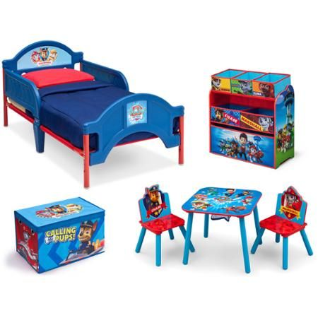 Nickelodeon Paw Patrol Room in a Box with BONUS Toy Bin [includes Toddler bed with rails, toy organizer, toy box, table and chair set] - Walmart.com (Costs $159.98)