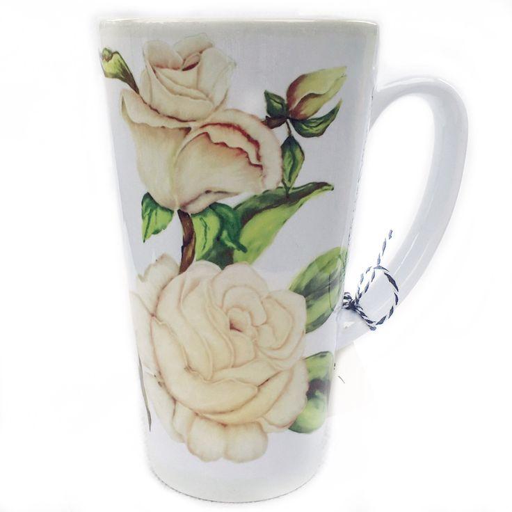 Latte Mug- White Rose