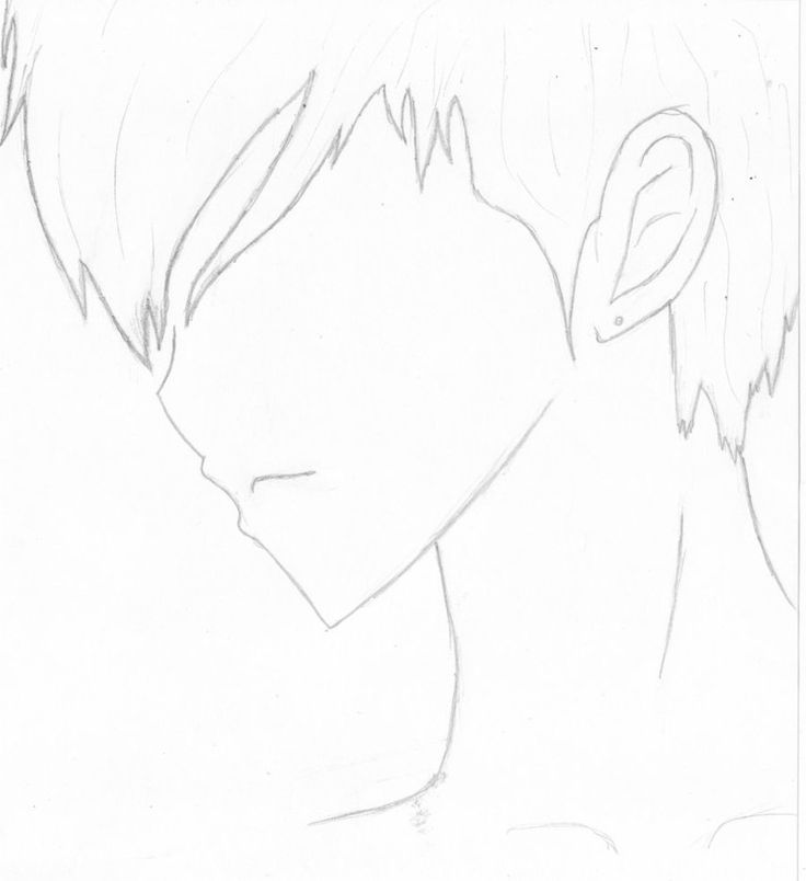 draw anime male face side