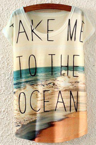 Beach Print Short Sleeve T-Shirt For Women