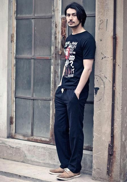 Mens Linen Pants Joggers High Quality Casual Loose Trousers