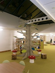Feature tree in Jeavons Wood library - painted in chalk paint so children can write book reviews, etc