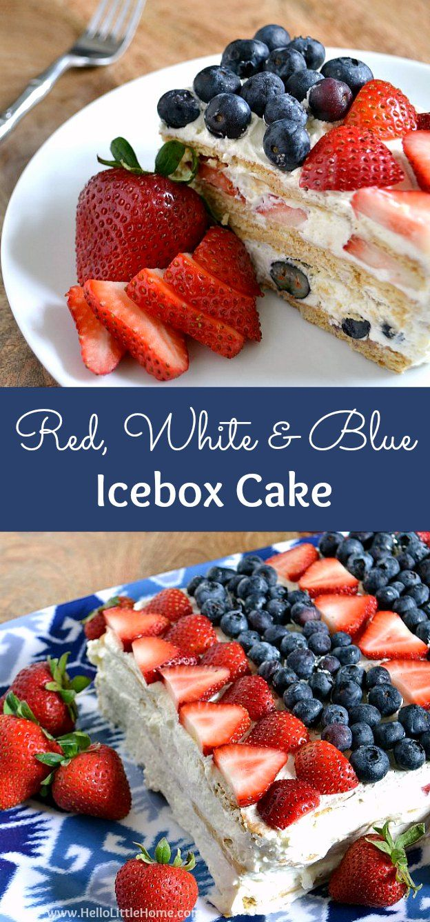 Red, White, and Blue Icebox Cake ... a delicious no bake dessert that's perfect for any patriotic get together, like the 4th of July! This easy, no bake icebox cake recipe is packed with fresh strawberries and blueberries, layered with a light lemon chees