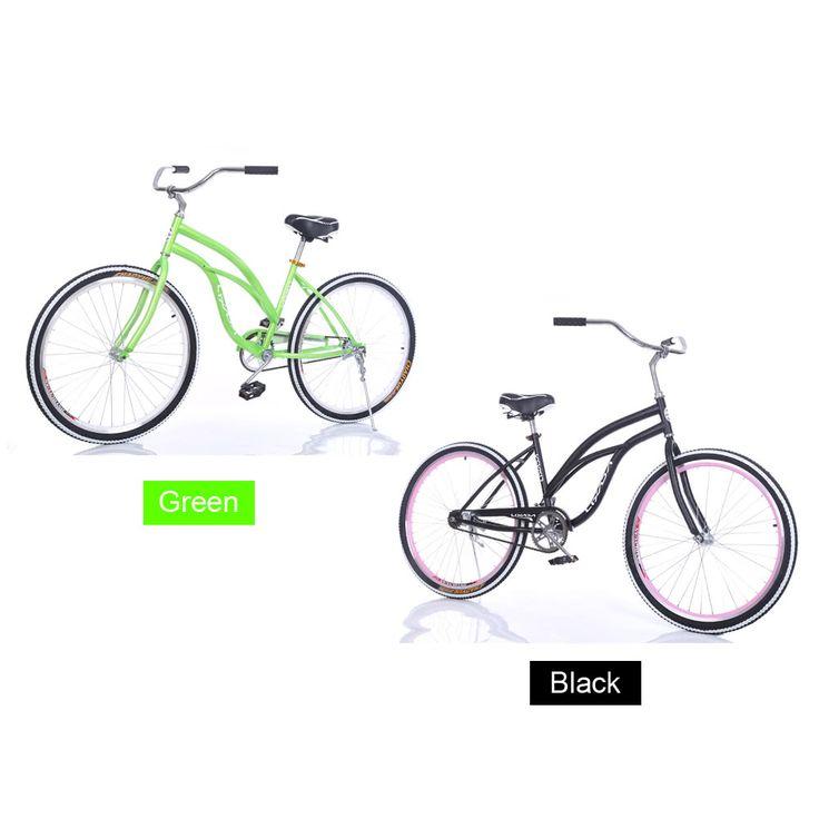 "Lixada 26"" Carbon Steel Bike Bicycle Beach Cruiser Sales Online green - Tomtop.com"