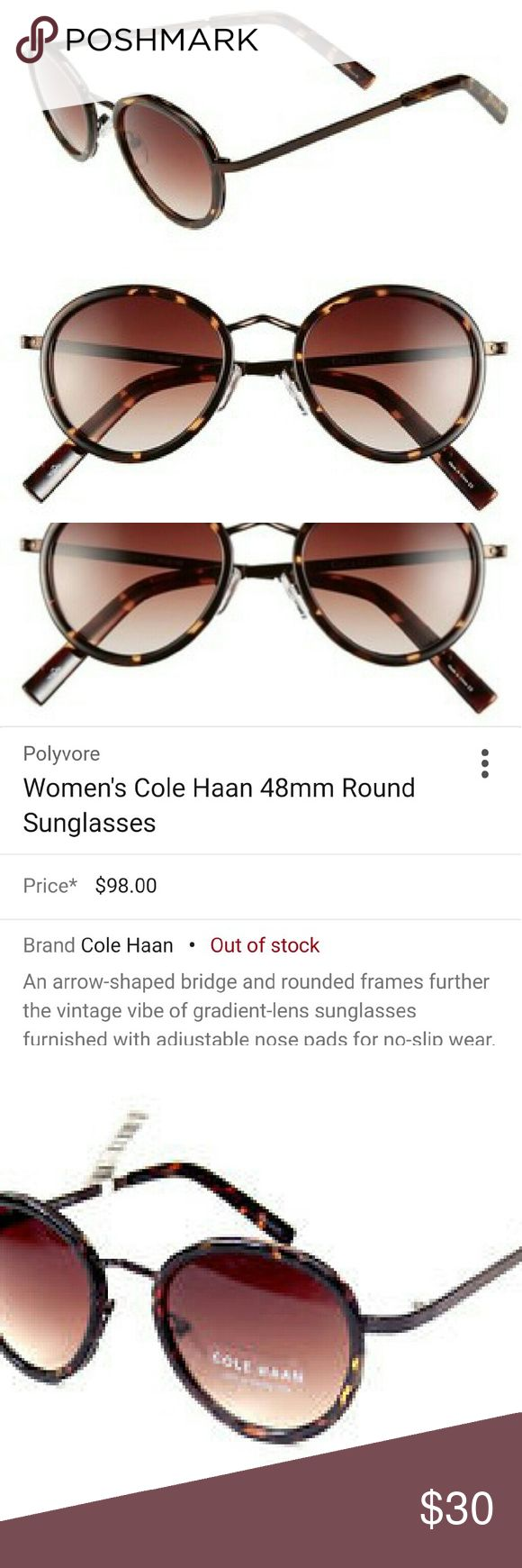 NWT Cole Haan round sunnies New with tags Cole haan round tortoise shell sunglasses. So cute! Cole Haan Accessories Sunglasses
