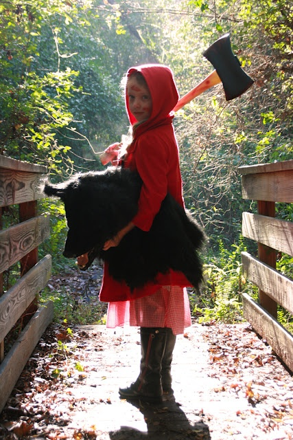 Halloween costume idea.  I love this take on little red riding hood if you don't have a wolf to go with hehe.