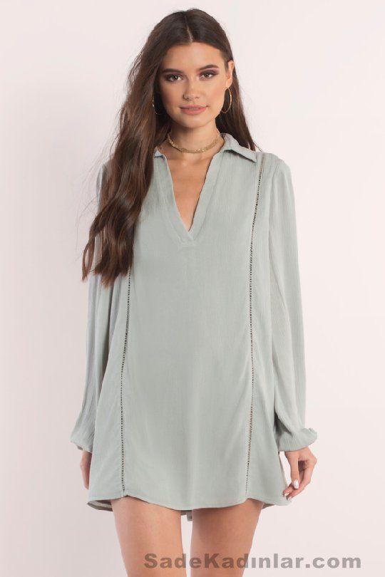 Günlük Elbise 2018 Şık ve Rahat Yazlık Elbiseler gri kısa yakalı