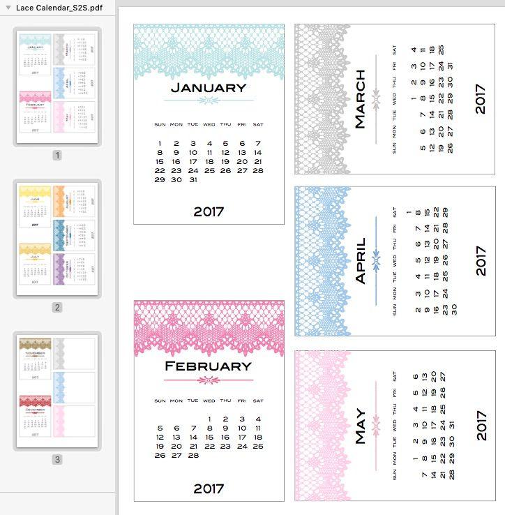 FREE Calendar Cards 2017 by Scrappystickyinkymess