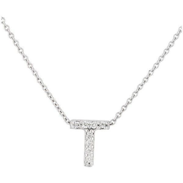 Pre-owned Roberto Coin 18K White Gold 0.04ct Diamond Love Letter T... ($495) ❤ liked on Polyvore featuring jewelry, necklaces, initial necklace, diamond initial necklace, white gold necklace, white gold letter necklace and white gold jewellery