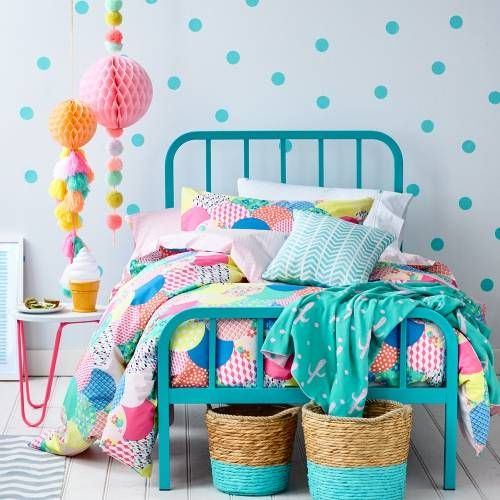 Reminds me of a Mexican fiesta!! Loving spot decals at the moment. This would give my girls rooms the POP they need Adairs Kids Lena Quilt Cover Set, kids quilt covers, kids doona covers