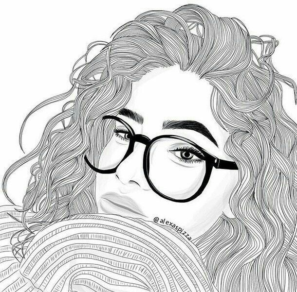 Tumblr Girl Drawing, Girl Drawings, Drawing Girls, Cartoon Drawings, Curly  Hair Drawing, Draw Hair, People Drawings, People Sketch, Girl Outlines