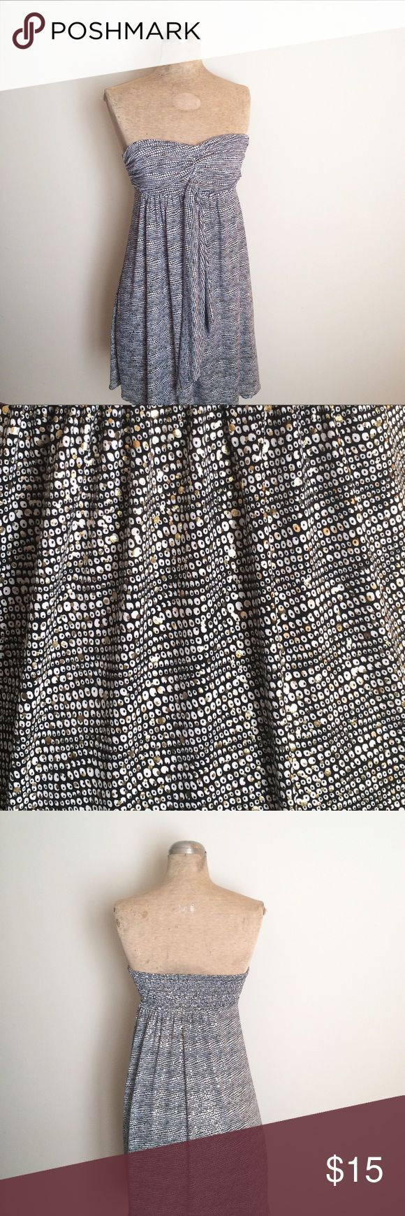 EXPRESS black white gold speckled tube top dress EXPRESS black white gold speckled tube top dress. Express Dresses Midi