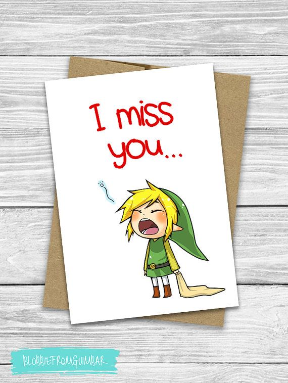 I Miss You | Cute Boyfriend Card | Valentine's Day | Girlfriend | Nintendo | Nerdy | Gamer | Love | Link | Zelda | 5X7| Legend of Zelda Card