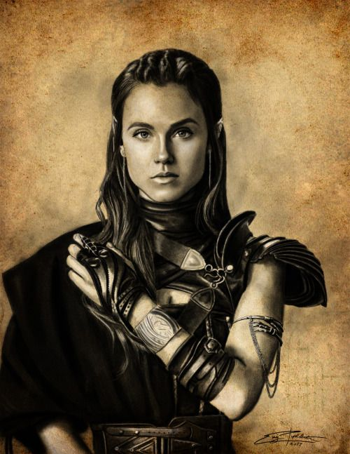 "epoppleton: "" Digital Charcoal of Princess Amberle from The Shannara Chronicles. Lol Wow the detail in her costume was insane and took forever. I love how it came out though. """