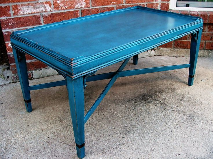 Antique wooden peacock blue square coffee table with high for Peacock coffee table