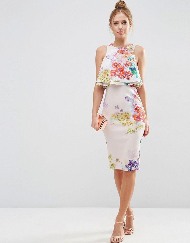 Imagen 4 de Vestido de tubo a media pierna con top corto con flores y volante doble de ASOS