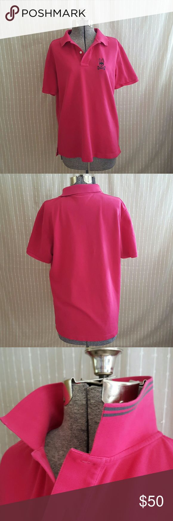 Psycho Bunny Pink Polo Psycho Bunny hot pink polo shirt. This is a men's large but also fits like a women's large and can fit a small to x-large woman depending on how oversized you want it. Perfect condition. Psycho Bunny Shirts Polos