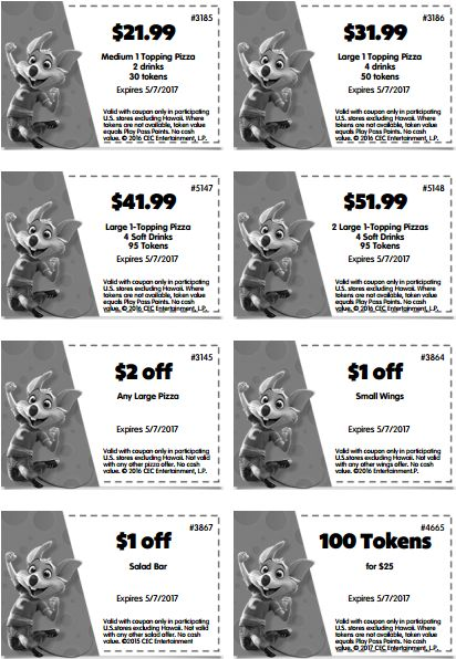 68 best Chuck E Cheese Printable Coupons, Free Tokens