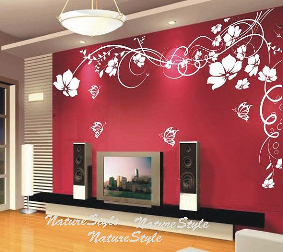 girl wall decals flower wall decal butterflies by NatureStyle