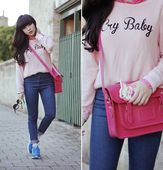 Wildfox Couture Cry Baby Sweater, High Waisted Denim Jeans, New Balance Blue 574 Sneakers, Cambridge Satchel Barbie Pink Bag, Half Tint Sunglasses