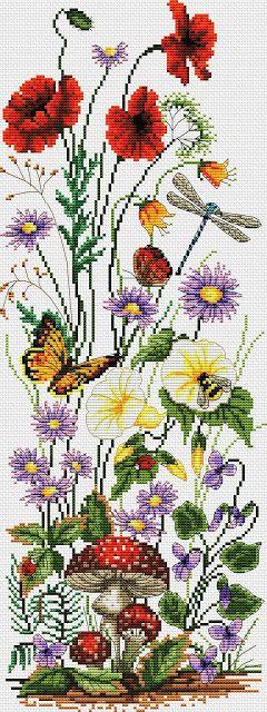 Ricami e schemi a Punto Croce gratuiti: Papaveri e fiori a punto croce- schema free
