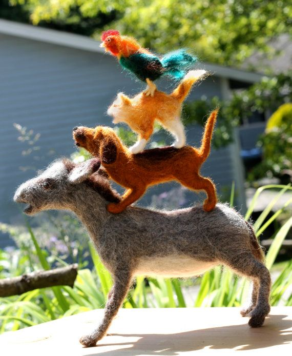 Needle felted Bremen Town Musicians, Donkey, Dog, Cat and Rooster