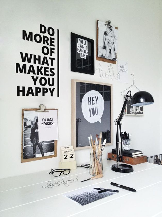 "Wandtattoo mit motivierendem Spruch als schöne Wohndeko / wall sticker ""Do more of what makes you happy"" by Urban ART Berlin via DaWanda.com"