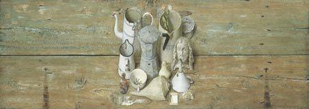 """Kenne Gregoire - """"Witte dingen"""" - 57 x 160 cm - acryl op paneel  Liefdespaar - Recent Werk"""