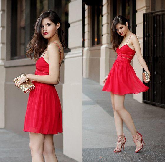 Windsor Chiffon Dress, Windsor Sequined Clutch, Windsor Caged Rhinestone Heels // Red by Adriana G. on Lookbook.nu