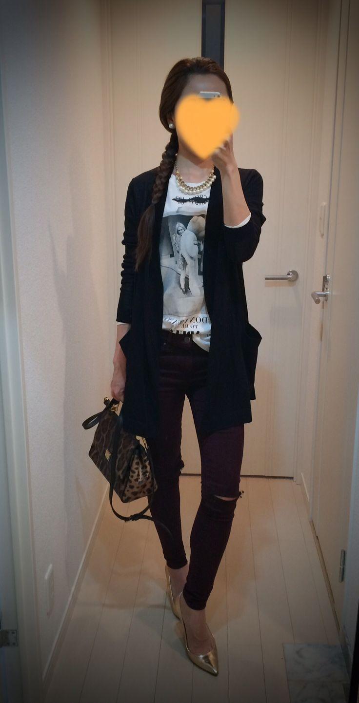 Cardigan: COS Tee: ZARA Skinny: TOPSHOP Bag: Dolce&Gabbana Heels: J.Crew