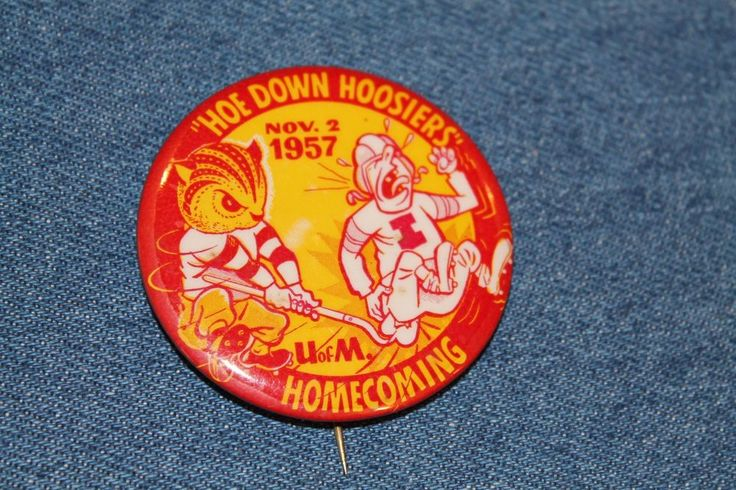 Vintage Minnesota Golden Gophers 1957 Football Homecoming PIN BUTTON vs. Indiana