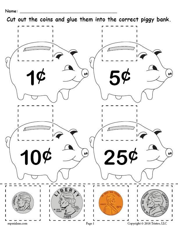 Free Printable Money Matching Worksheet With Coins