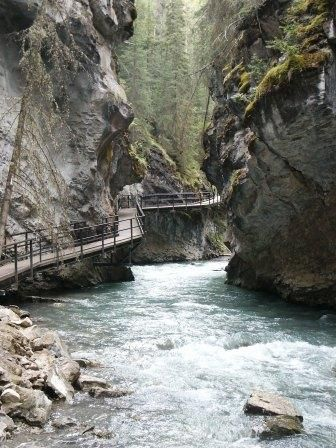 """Johnston Canyon, Alberta.  One of my favourite places.  """"The rock decides which…"""