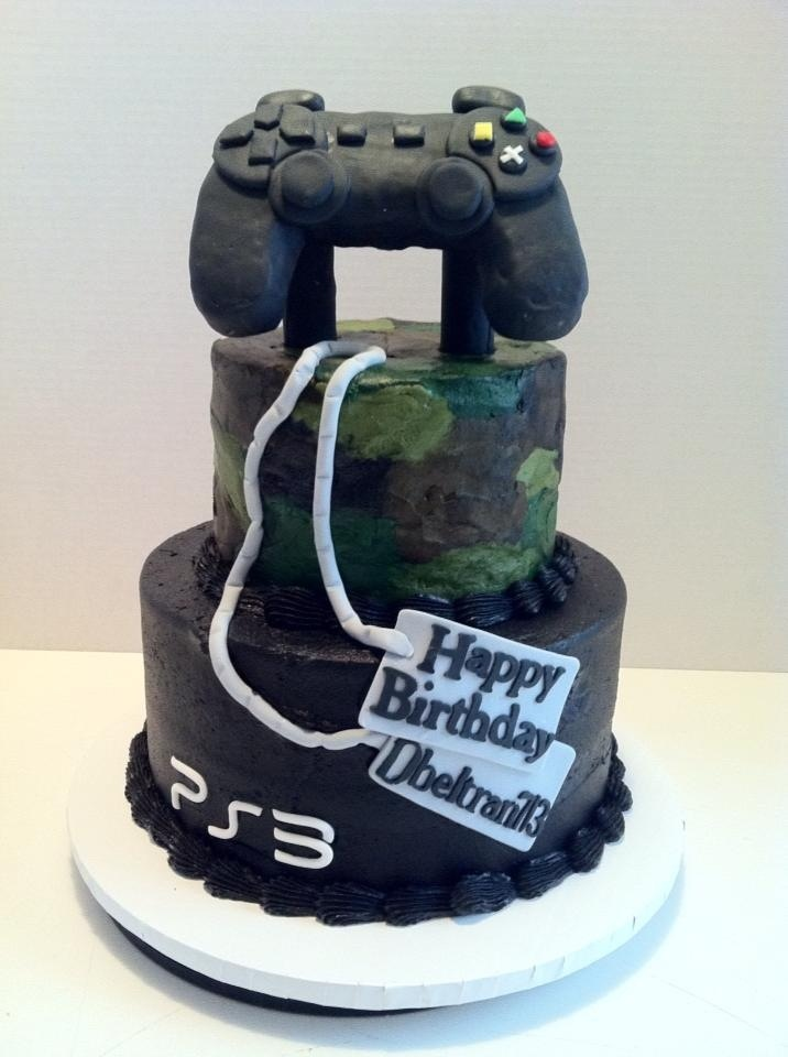 Camo Ps3 Gamer Cake My Cakes Pinterest Grooms Cakes