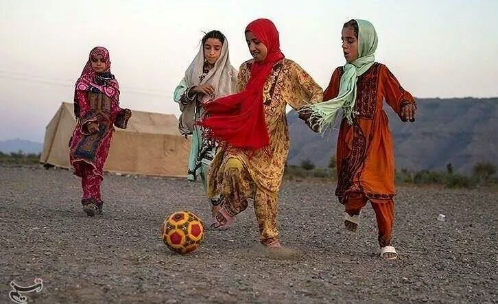Baloch girls playing football in Iran. Beautiful. Joyous.  This pic makes me so incredibly happy.  And also why FIFA will never win.   Football is for all of us.