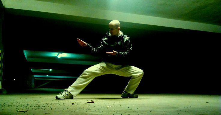 karate training / night / city underground