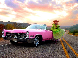 pretty pink caddy and beautiful texas sunset