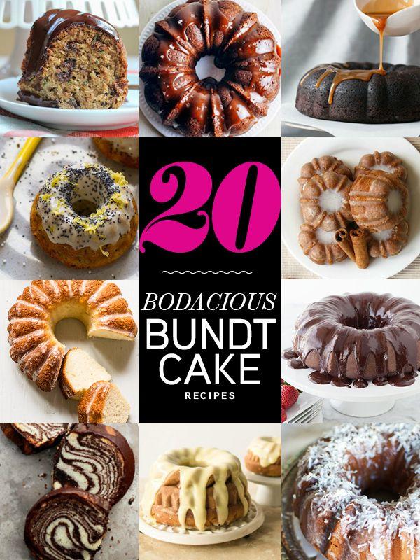 20 Bodacious Bundt Cake Recipes Round-Up via @foodiecrush #bundt #cake