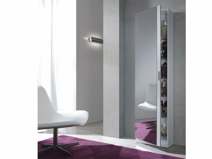 mueble zapatero blanco con espejo