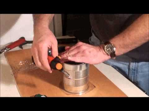 make a drum from a can and water or soda bottle.