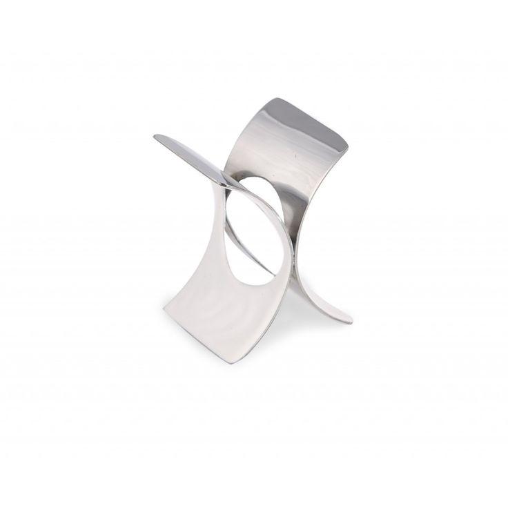 Raglan Napkin Ring. White enamel and polished metal.