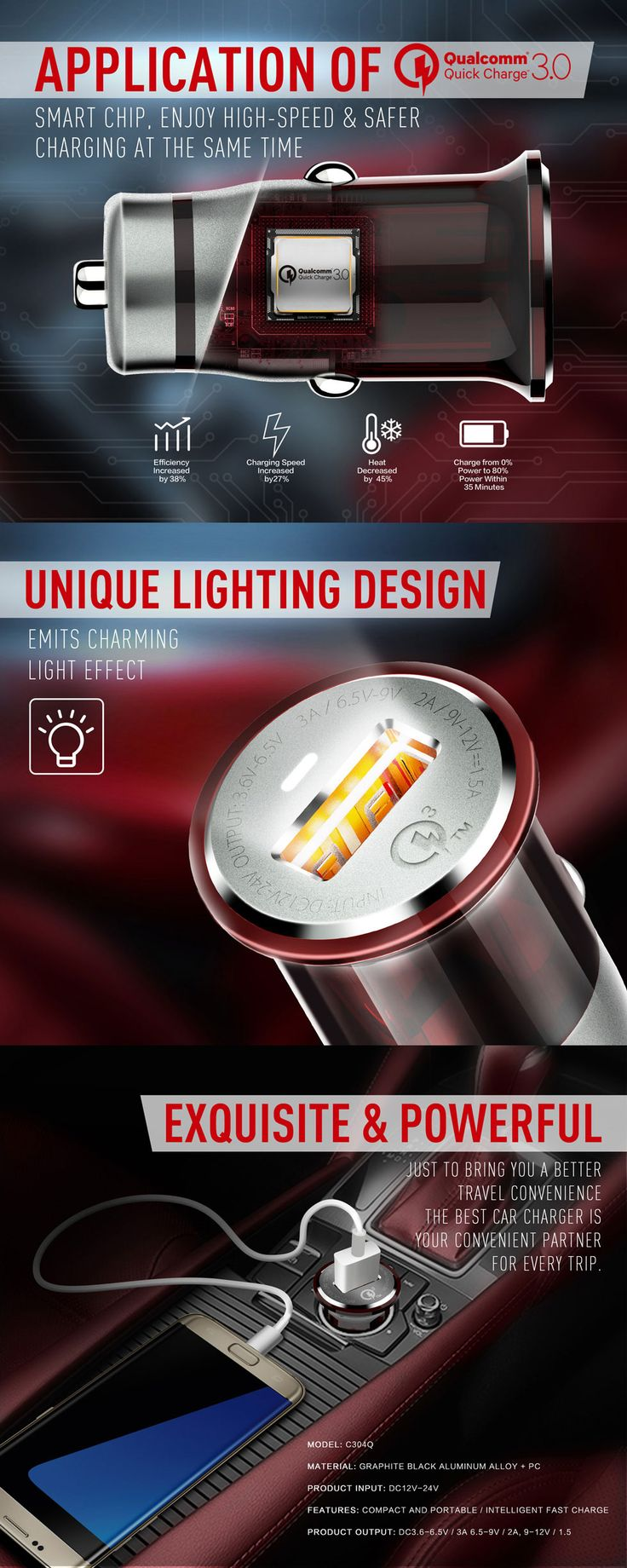 Compact and portable, exquisite supplying infinite power.Made of graphite black aluminum alloy shell.Application of Qualcomm 3.0 smart chip - enjoy high speed and safer charging at the same time.Designed with safety, compatibility, reliability and quality.Unique lighting design emits charming light effect.