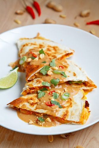 Spicy Peanut Chicken Quesadillas | Recipe | Peanut Chicken, Chicken ...