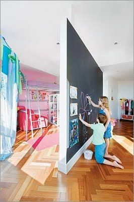 great idea for a divider in the kid's room